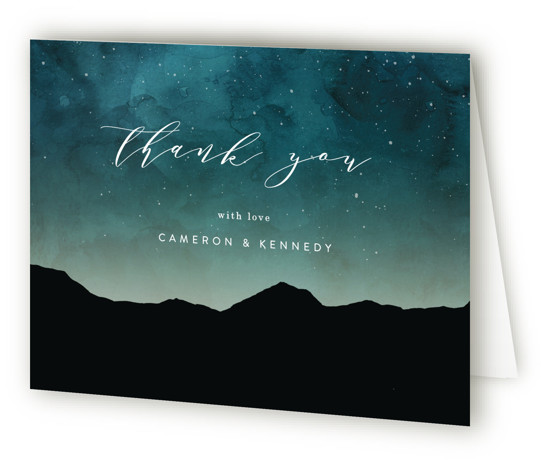 This is a bold and typographic, painterly, black, purple Wedding Thank You Cards by Kelly Schmidt called Starry Skies with Standard printing on Standard Cover in Card fold over (blank inside) format. A beautiful night sky for a destination wedding ...