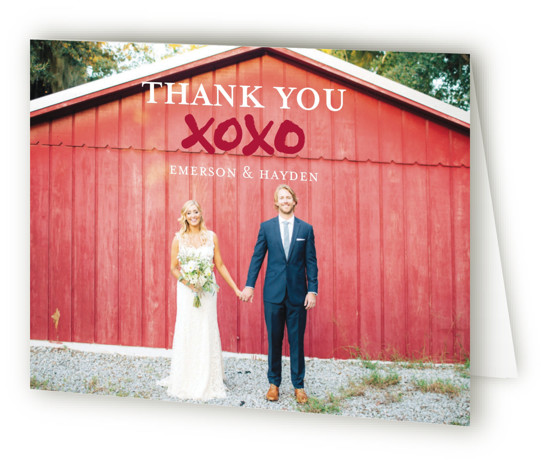 This is a modern, red, classic colors Wedding Thank You Cards by Lisa Guerrero called Brushed Love with Standard printing on Standard Cover in Card fold over (blank inside) format. Bold and graphic invitation featuring original art with brushed letters. ...