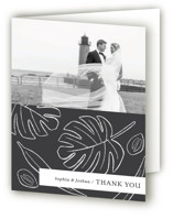 This is a black and white wedding thank you card by Griffinbell Paper Co. called Crescendo with standard printing on strathmore in standard.