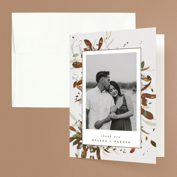 """Fall Flurry"" - Bohemian Folded Thank You Card in Fall by Grace Kreinbrink."