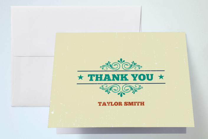 """""""Old Blues Rock"""" - Thank You Cards in Lime by Coco and Ellie Design."""