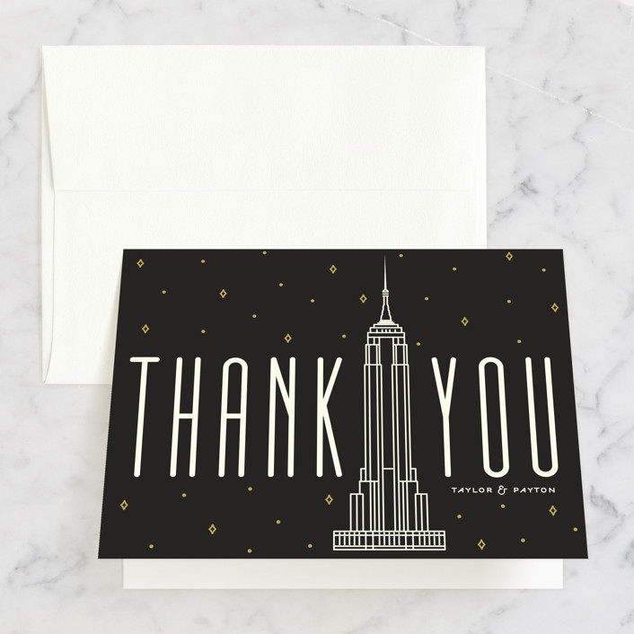 """Empire"" - Destination, Modern Thank You Cards in Midnight by GeekInk Design."