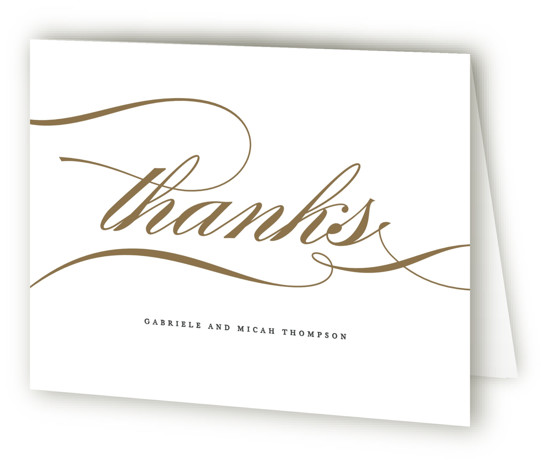 This is a landscape bold and typographic, classic and formal, white, grey, gold Wedding Thank You Cards by Jennifer Postorino called Flourish with Standard printing on Standard Cover in Card fold over (blank inside) format. A simple offset design that ...
