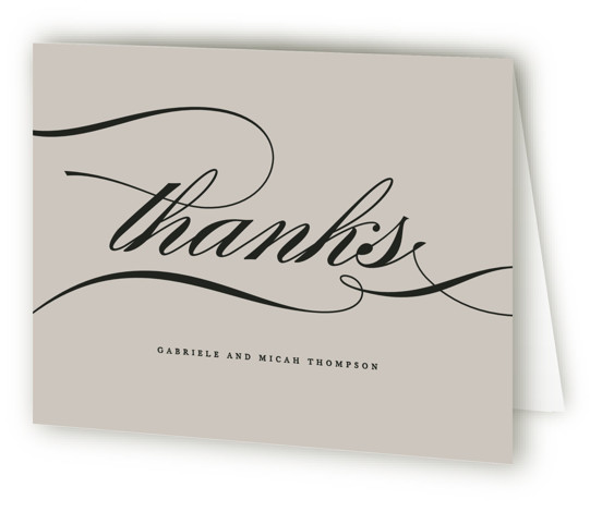 This is a landscape bold and typographic, classic and formal, grey, gold Wedding Thank You Cards by Jennifer Postorino called Flourish with Standard printing on Standard Cover in Card fold over (blank inside) format. A simple offset design that lets ...