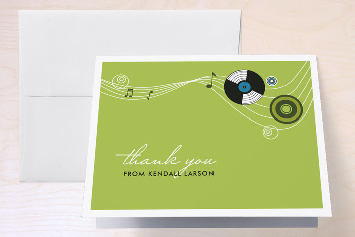 """Records"" - Thank You Cards in Spearmint by Andrea Mentzer."