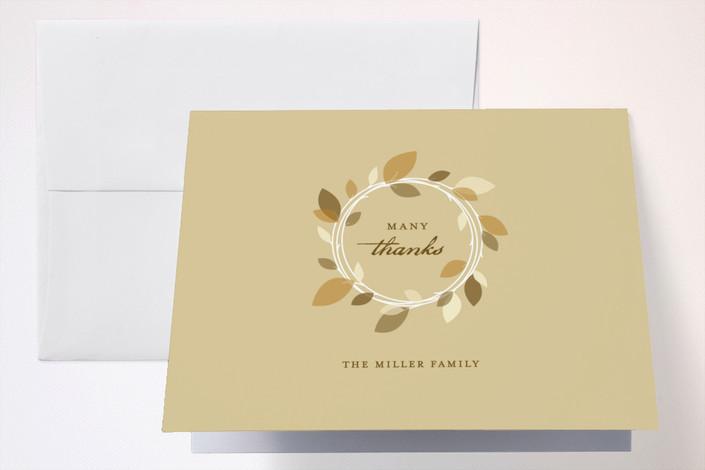 """Autumn Wreath"" - Thank You Cards in Khaki by Oscar & Emma."