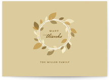 This is a beige wedding thank you card by Oscar & Emma called Autumn Wreath with standard printing on strathmore in standard.
