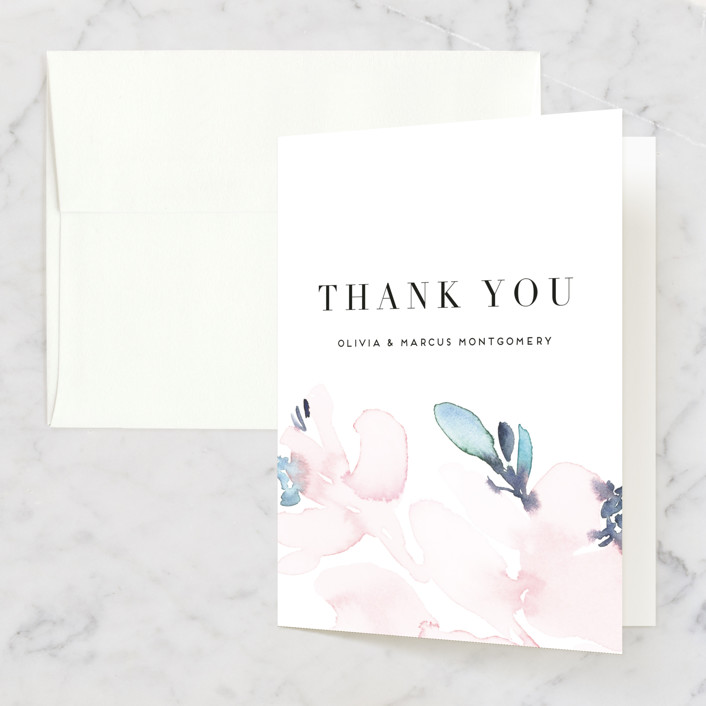 """Florista Modernista"" - Folded Thank You Card in Azalea by Petra Kern."