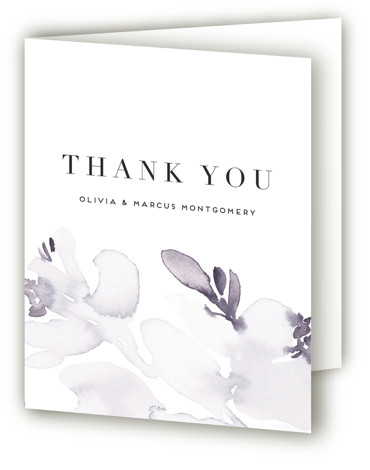 This is a botanical, painterly, purple Wedding Thank You Cards by Petra Kern called Florista Modernista with Standard printing on Standard Cover in Card fold over (blank inside) format. Gentle, clean, modern floral wedding invitation.