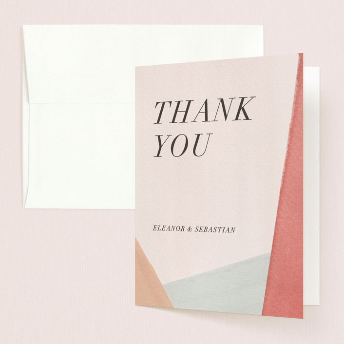 """Eleanor"" - Modern Thank You Cards in Rose by Creative Parasol."