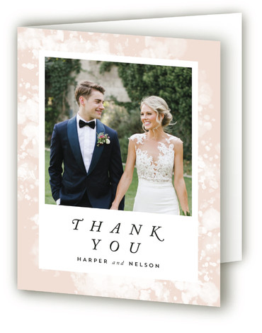 This is a painterly, orange Wedding Thank You Cards by Qing Ji called artful celebration with Standard printing on Standard Cover in Card fold over (blank inside) format. Abstract watercolor painting that reminds people of botanical elements, such as flowers, ...