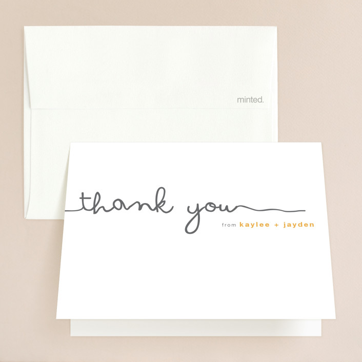 """""""The Happy Couple"""" - Whimsical & Funny Folded Thank You Card in Tangerine by R studio."""