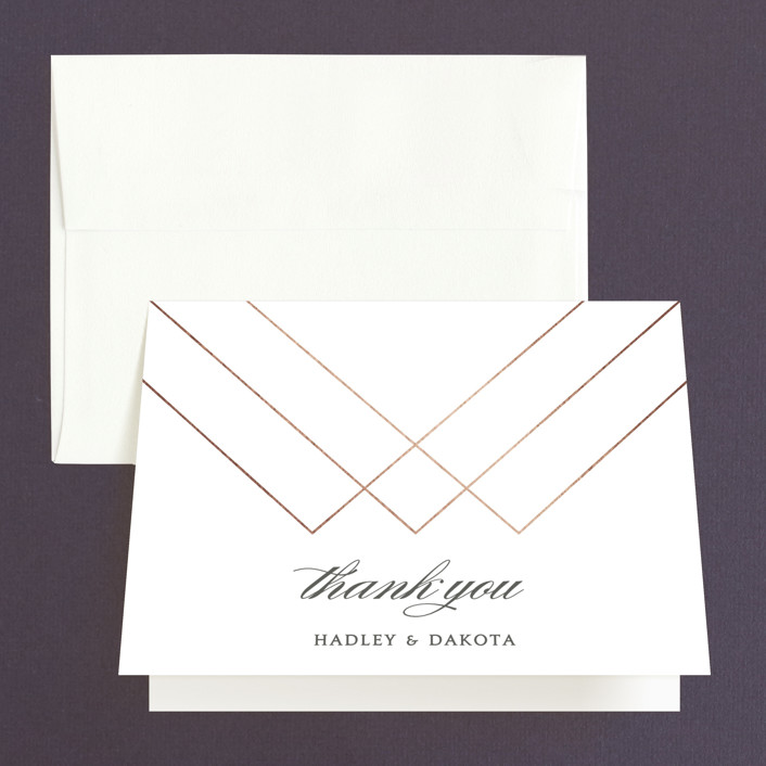"""Elegantly Lined"" - Thank You Cards in Petal by Robin Ott."