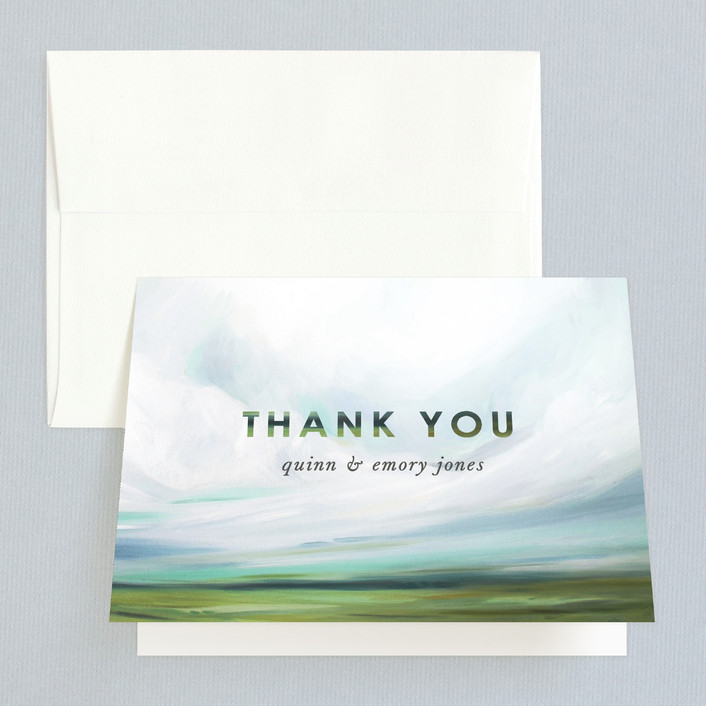 """Fresh Lands"" - Thank You Cards in Teal by Emily Jeffords."