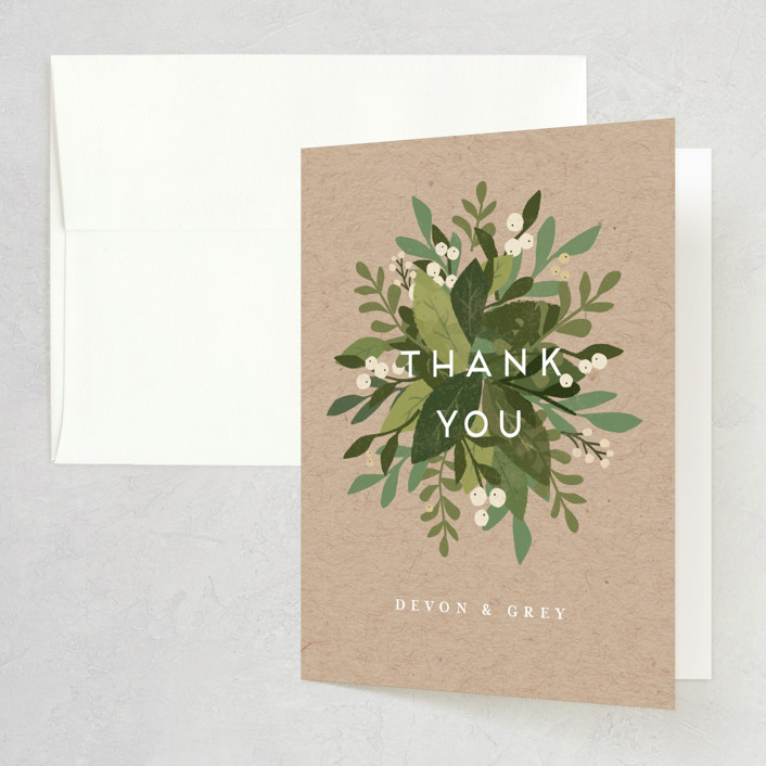 """Laurel of Greens"" - Folded Thank You Card in Midnight by Jennifer Wick."