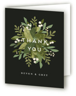 This is a black wedding thank you card by Jennifer Wick called Laurel of Greens with standard printing on strathmore in standard.