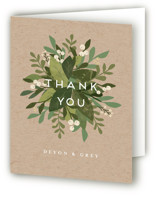 This is a brown wedding thank you card by Jennifer Wick called Laurel of Greens with standard printing on strathmore in standard.