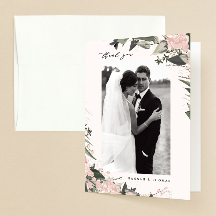 """""""Ivory Ring"""" - Folded Thank You Card in Blush by Susan Moyal."""
