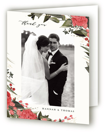 This is a botanical, black and white, green, red Wedding Thank You Cards by Susan Moyal called Ivory Ring with Standard printing on Standard Cover in Card fold over (blank inside) format. Hand drawn botanicals circle the wedding details