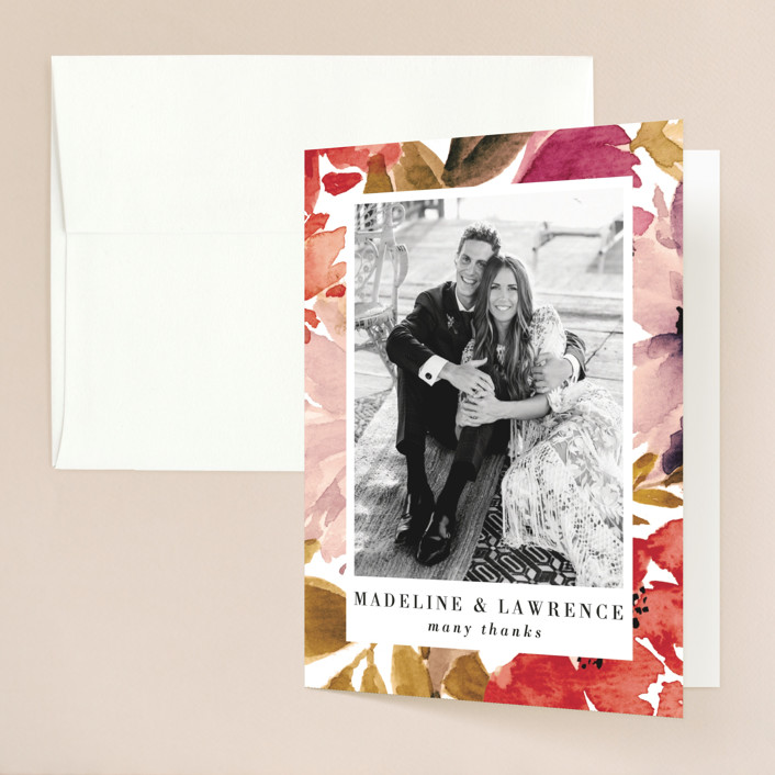 """""""Autumn Vows"""" - Folded Thank You Card in Burnt Orange by Chris Griffith."""