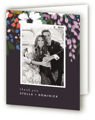 This is a portrait botanical, painterly, black Wedding Thank You Cards by Angela Marzuki called spring dream with Standard printing on Standard Cover in Card fold over (blank inside) format. My own original artwork, full of bright color and clean ...