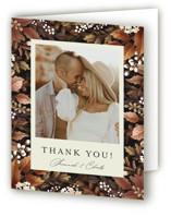This is a brown wedding thank you card by Chris Griffith called Falling into Love with standard printing on strathmore in standard.