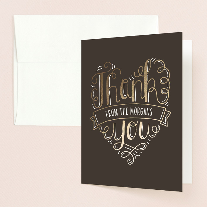 """""""Handlettered Heart"""" - Rustic Thank You Cards in Ink by Laura Hankins."""