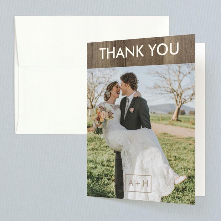"""Modern Barn Wood"" - Rustic Folded Thank You Card in Rose by Johanna McShan."