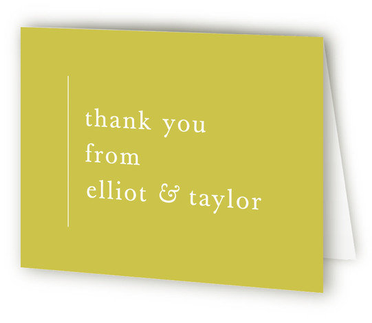 This is a bold and typographic, modern, simple and minimalist, yellow Wedding Thank You Cards by carly reed walker called Evermore with Standard printing on Standard Cover in Card fold over (blank inside) format. Simple and type driven, classic color ...