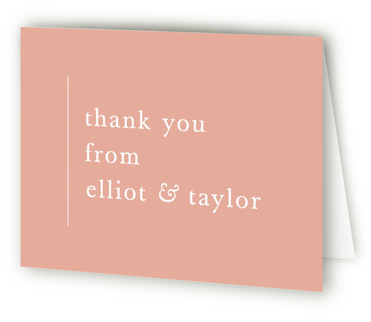 This is a bold and typographic, modern, simple and minimalist, pink Wedding Thank You Cards by carly reed walker called Evermore with Standard printing on Standard Cover in Card fold over (blank inside) format. Simple and type driven, classic color ...