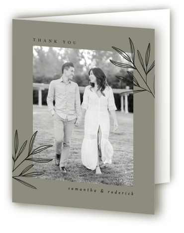 This is a portrait botanical, classic and formal, green Wedding Thank You Cards by Kelly Schmidt called Italia with Standard printing on Standard Cover in Card fold over (blank inside) format. A modern, refined design featuring a botanical illustration