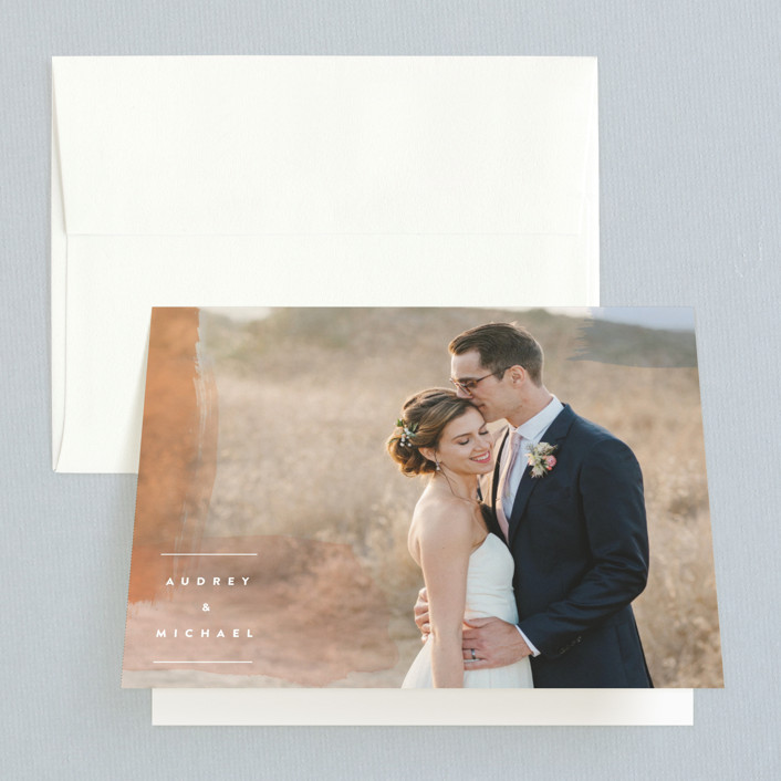 """Watercolor Wisp"" - Modern Folded Thank You Card in Blush by Ariel Rutland."