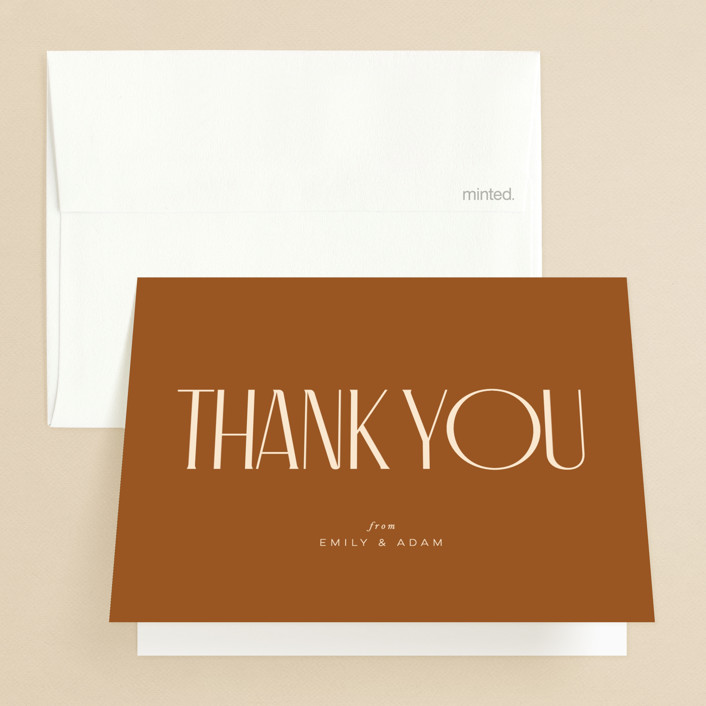 """""""Classic Touch"""" - Folded Thank You Card in Rust by April Astudillo."""