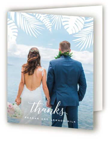 This is a portrait botanical, illustrative, green Wedding Thank You Cards by Hooray Creative called Tropical Foliage with Standard printing on Standard Cover in Card fold over (blank inside) format. A unique illustration of lush tropical foliage paired with modern ...