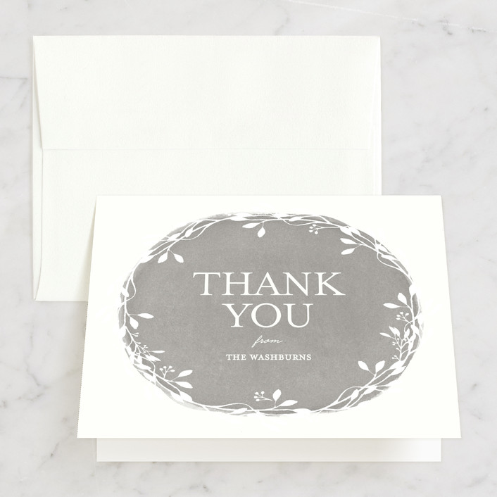 """""""Vintage Wreath"""" - Rustic Thank You Cards in Cloud by Lisa Cersovsky."""