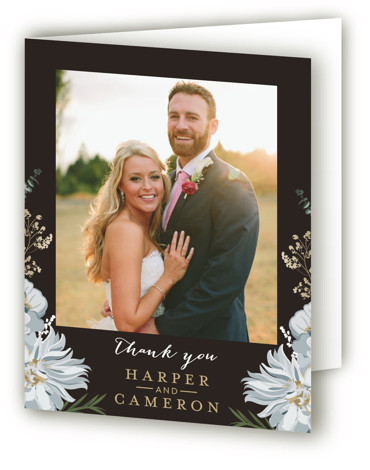 This is a portrait botanical, brown, grey Wedding Thank You Cards by Susan Moyal called Peonies & Berries with Standard printing on Standard Cover in Card fold over (blank inside) format. This classic wedding invitation feature berries, sprigs and blossoms ...