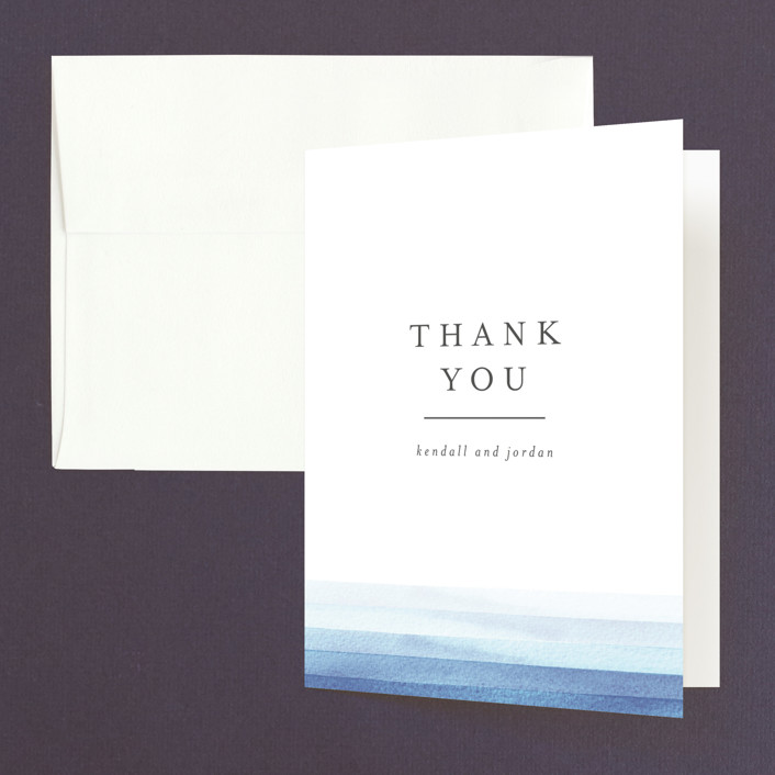 """Watercolour Stripe"" - Thank You Cards in Azure by Bethan."
