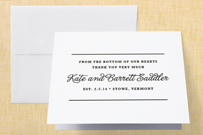 """""""The Official Guidebook"""" - Classical, Formal Thank You Cards in Black by Toast & Laurel."""