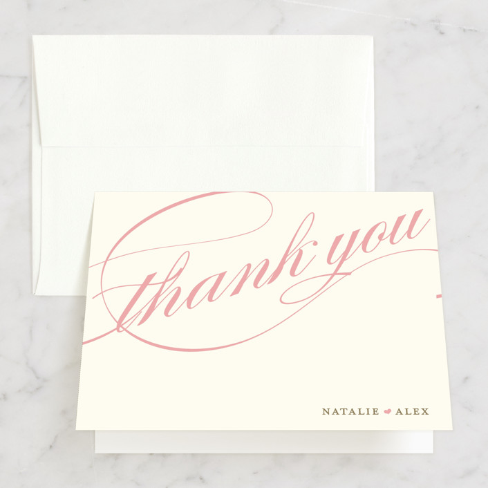 """Winter Flourish"" - Classical, Elegant Folded Thank You Card in Petal Pink by annie clark."