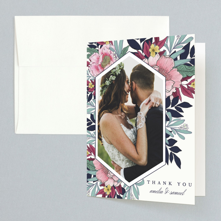 """Vintage Boughs"" - Folded Thank You Card in Merlot by Grace Kreinbrink."