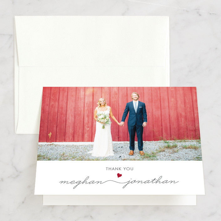 """""""Love Connection"""" - Whimsical & Funny Thank You Cards in Red Hot by Kim Dietrich Elam."""