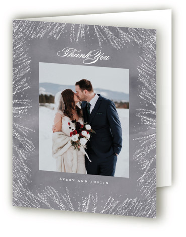 This is a botanical, grey Wedding Thank You Cards by Creo Study called Frosty chic with Standard printing on Standard Cover in Card fold over (blank inside) format. This wedding invite featuring frosted pines sets the mood for a winter ...
