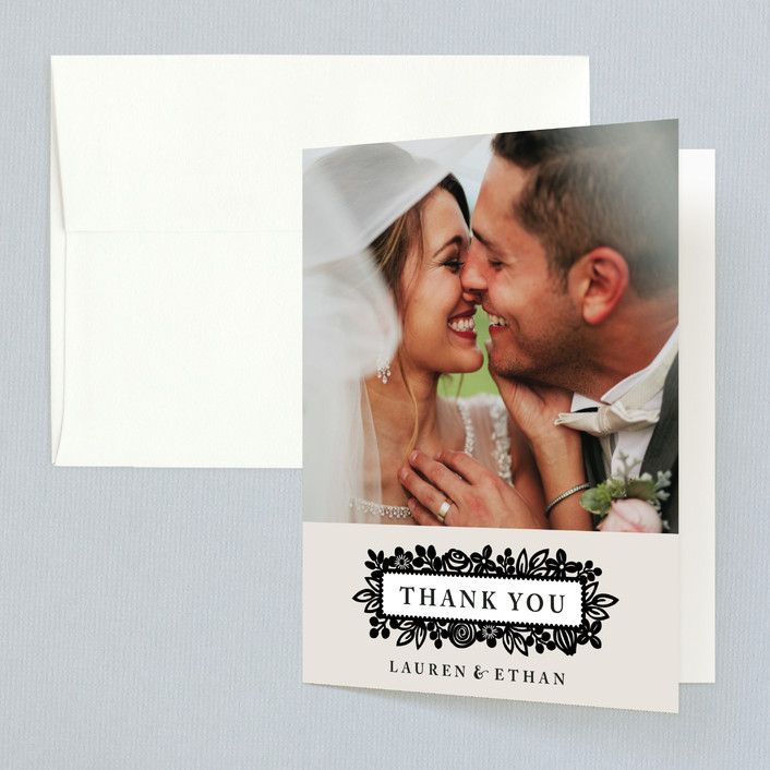 """""""Modern Floral Frame"""" - Folded Thank You Card in Champagne by Faiths Designs."""