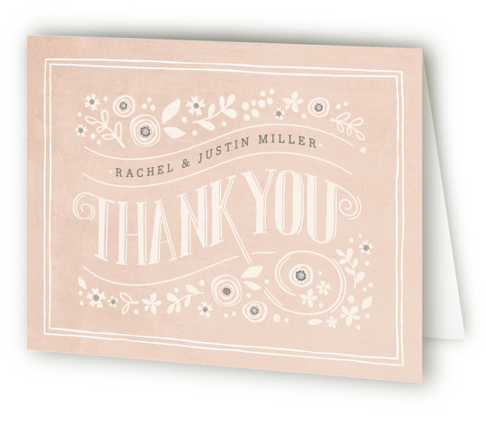 This is a landscape botanical, floral, hand drawn, rustic, vintage, pink Wedding Thank You Cards by Jennifer Wick called Alabaster Florals with Standard printing on Standard Cover in Card fold over (blank inside) format. A vintage, chalkboard design with folk ...