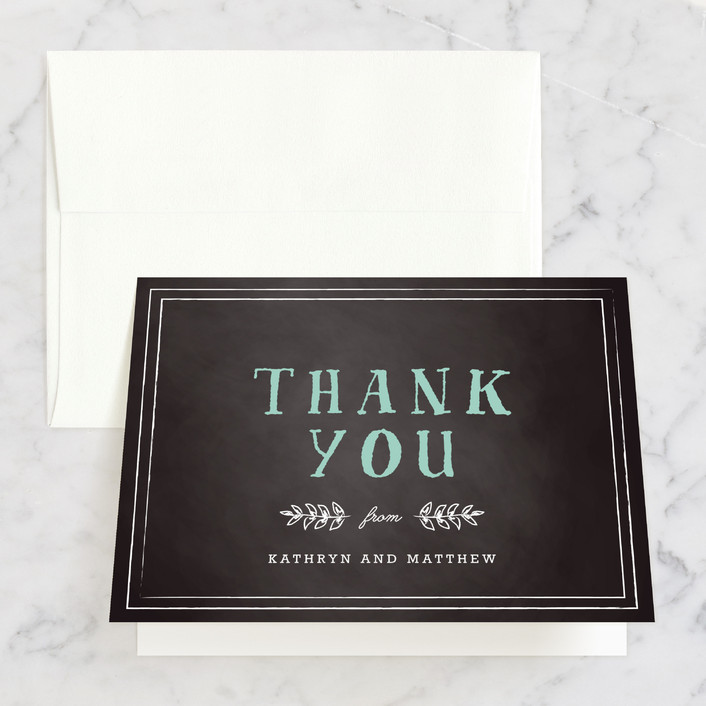 """Floral Chalkboard"" - Rustic Thank You Cards in Aqua by Lehan Veenker."