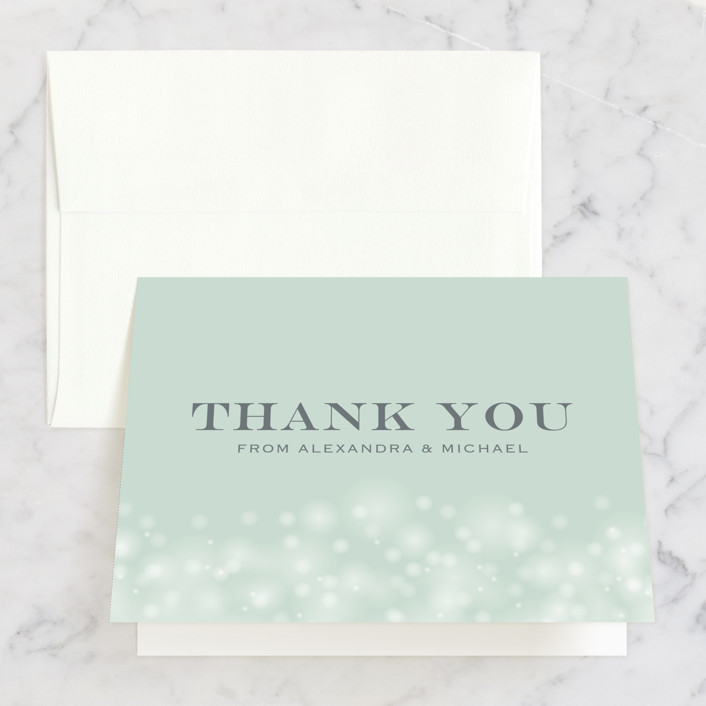 """""""Twinkling Lights"""" - Thank You Cards in Seagreen by Erin Deegan."""