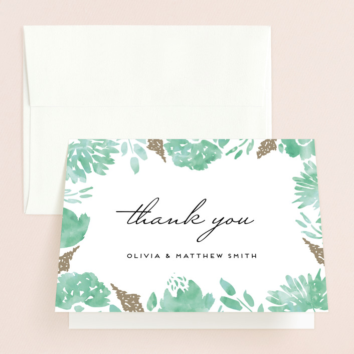 """""""Watercolor Delight"""" - Floral & Botanical Thank You Cards in Aqua by Petra Kern."""