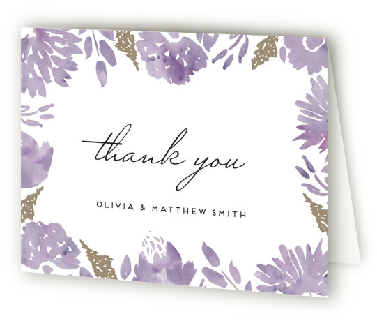 This is a landscape floral, purple Wedding Thank You Cards by Petra Kern called Watercolor Delight with Standard printing on Standard Cover in Card fold over (blank inside) format. Rich jet simple, elegant yet informal, classic yet modern .