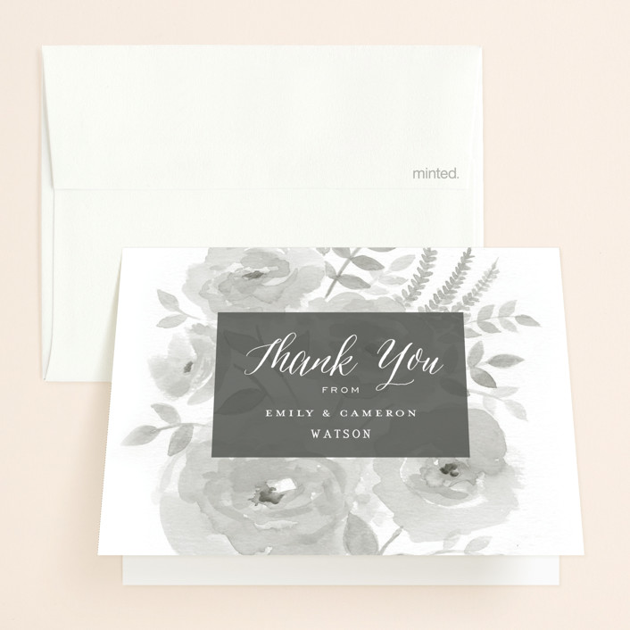 """Watercolor Floral"" - Folded Thank You Card in Fog by Jill Means."