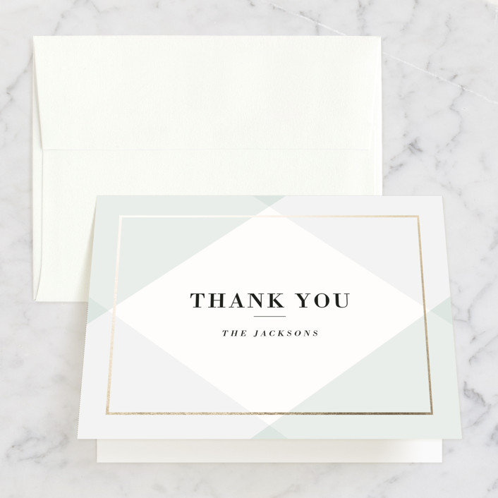 """""""Creme Brulee"""" - Elegant Thank You Cards in Mint by chocomocacino."""